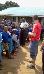 Donors and kids at Shalom Primary School in Rongai near Nakuru.