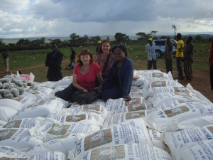 A food drop for the 7,000 residents at Manjani Mingi IDP Camp.